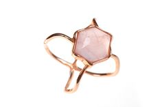 Pentagon Rose Quartz Perfect Cross Ring