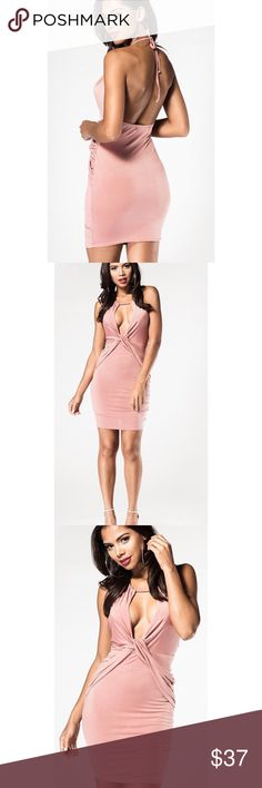 Pink Wrap Halter Mini Dress Pink Lycra Wrap Halter Mini Dress This sexy Pink Lycra Wrap Halter Mini Dress is sure to make heads turn in it will give you the ultimate sleek silhouette....Features a key hole cut out and high neck tie. Length 80 cm bust 50.5 cm hips 46cm waist 48.5 cm Dresses Mini