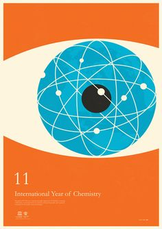 """International Year of Chemistry poster series by Simon C. Page (""""Atomise,"""" John Dalton) Chemistry Posters, Science Posters, Poster Prints, Art Prints, Expo, Graphic Design Illustration, Graphic Art, Illustration Art, Graphic Design Inspiration"""