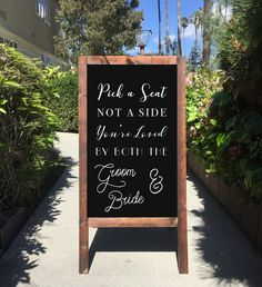 Welcome Wedding Sign - Rustic Wedding Chalkboard Sandwich Board Pick A Seat Not A Side You're Loved By Both The Groom And Bride | Wedding Easel Chalkboard Sign