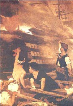 6 Jun Konstantinos Kanaris burns with his fireship, the tuskish admiralship, Turkish admiral is also killed Greek Independence, Greek History, Ottoman Empire, Revolution, Jun, Image, March, Paintings, Paint