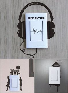 40 Cute and Creative Home Switchboard Art Installation - Bored Art Simple Wall Paintings, Creative Wall Painting, Creative Wall Decor, Wall Painting Decor, Diy Wall Art, Creative Home, Creative Walls, Wall Art Designs, Paint Designs