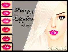 Plumpy Lipgloss with teeth at Barbies Stuff via Sims 4 Updates