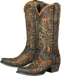 Lane Women's Robin Embroidered Waxed Black Cowgirl Boots - Snip Toe - Sheplers