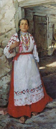 """К. А. Вещилов. """"Крестьянская девушка"""". 1909. Омский областной музей изобразительных искусств имени М.А.Врубеля."""
