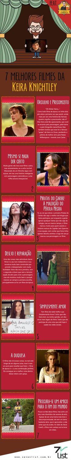 Nós adoramos falar de mulheres que arrasam, e hoje é dia dela. O Idiota Cinéfilo listou os 7 melhores filmes da Keira Knightley, na opinião dele. #SevenList #Art #Design #Infográfico #Cinema #Movie #Cinema #Woman #GirlPower #KeiraKnightley