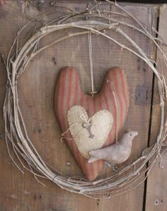 RED/BROWN HEART w/ BIRD....SOLD | Primitive Handmades Mercantile