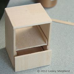 Make Opening Three Drawer Cabinets for a Dollhouse: Glue the Drawer Slides Into the Dollhouse Kitchen Base Cabinet