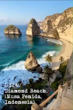 Diamond Beach is yet another popular travel destination near Bali, a place that has quickly distinguished itself as a must-go place for young travelers. Along the beach you'll find other charming attractions like the staircase shown in the video. Beautiful Places To Travel, Best Places To Travel, Romantic Travel, Cool Places To Visit, Romantic Places, Best Places To Live, Wedding Destination, Destination Voyage, Travel Destinations Beach