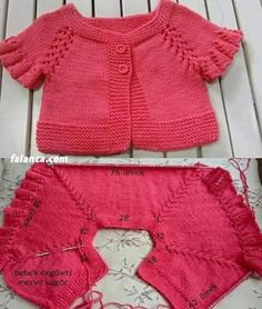 Red Baby Vest Outing # Weben # Webenmodelle . Baby Cardigan, Baby Pullover, Baby Knitting Patterns, Hand Knitting, Crochet Baby, Knit Crochet, Knit Wrap Pattern, Baby Coat, Knitting For Beginners