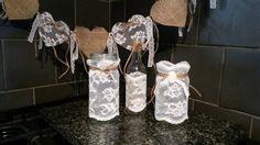 Handmade lace & twine bottle & jars fab for vintage/shabby wedding