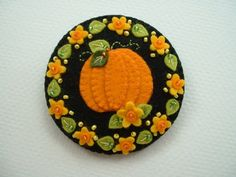 Felt Flower Pumpkin Pin via Etsy