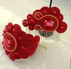Купить Сутажный комплект украшений - подарок девушке, подарок женщине, украшения ручной работы