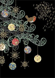 Early Christmas spirit - Robin Tree - christmas card design by Jane Crowther for Bug Art greeting cards. Christmas Love, Christmas Images, Christmas Greetings, All Things Christmas, Vintage Christmas, Christmas Crafts, Christmas Decorations, Christmas Ornament, Illustration Noel