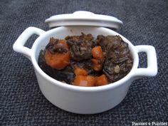 Joue de boeuf aux carottes et vin rouge Pot Roast, No Cook Meals, Pudding, Beef, Ethnic Recipes, Desserts, Cooking Food, Casseroles, French