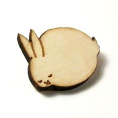 Sleeping Bunny Wood Pin by sugarcookie on Etsy, $14.00