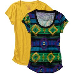 No Boundaries Juniors Plus Scoop Neck Slub Tee 2-Pack - Awesome for Heading Back to School in Style