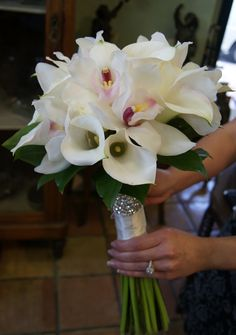 Cala & orchid bouquet, naturally the ribbon has to match.