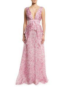 Sleeveless+V-Neck+Floral-Print+Silk+Gown,+Pink/Multi+by+Carolina+Herrera+at+Bergdorf+Goodman.