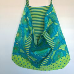 Green and Blue Flowers with Polka Dot Trim and Striped Lining Shopping Bags, Fabulous Fabrics, Blue Flowers, Polka Dots, Sewing, Green, Pattern, Collection, Couture