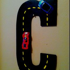 Boy's play room race car decor