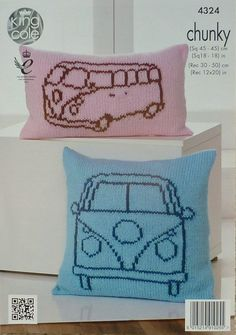 C&er Van Outline Cushions in King Cole Chunky Kit with Free Pattern & Knitting pattern for VW Camper Van blanket by Deramores | Crafts ... pillowsntoast.com