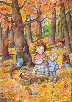 Nel Bosco Autumn Art, Autumn Theme, Autumn Leaves, Autumn Illustration, Cute Illustration, Fall Clip Art, Victorian Paintings, Autumn Scenes, Nature