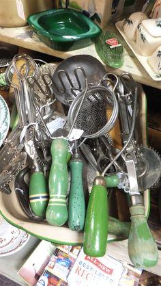 Green handled vintage kitchen utensils