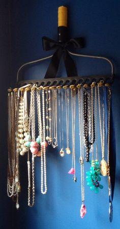 rake turned into jewelry holder
