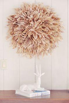 7-DIY african juju hat - feather wall art