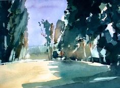Ian Potts Artist: Vendee landscape on my way Watercolor Landscape, Watercolor And Ink, Abstract Landscape, Landscape Paintings, Landscapes, Traditional Paintings, Watercolor Techniques, Watercolors, Watercolour Paintings