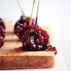 Christmas Eve staple that I love-BBQ bacon wrapped water chestnuts-once bacon crisps in oven we pour over 1 cup ketchup mixed with 1/2 cup brown sugar, this is a nice variation on the original recipe.