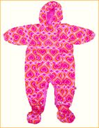 Adorable quot halin quot baby hot pink amp red hearts hooded snowsuit sz 3 6m