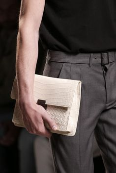 Bottega Veneta (Men) - Intrecciato Soft Crocodile Document Case - Spring / Summer 2014 - Photo credit: vogue.it