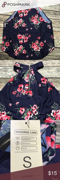 Navy Floral Tank Top BNWT This navy blue tank has a red floral pattern. Zips in the back. Never worn, BNWT. fancyqube Tops Tank Tops