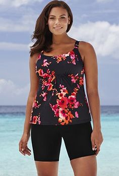 72b32a60b57 Shortinis - Beach Belle Poppies Flared Bike Shortini Modest Swimsuits