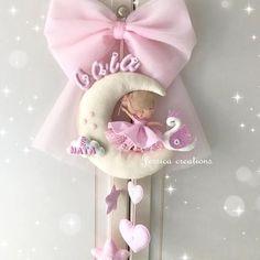 Baby Shower Niño, Baby Shower Princess, Baby Shower Parties, Felt Diy, Felt Crafts, Diy And Crafts, Moon Decor, Afghan Crochet Patterns, Felt Dolls