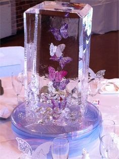 Dancing butterfly ice table centrepiece from ice styling hitched co uk paris quinceanera centerpiece quinceanera theme Quince Centerpieces, Butterfly Centerpieces, Quinceanera Centerpieces, Butterfly Decorations, Wedding Centerpieces, Sweet 16 Themes, Sweet 16 Decorations, Quince Decorations, Table Decorations