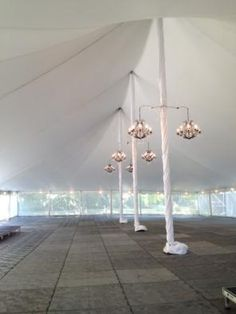 60' Wide Pole Tent  - Dura Trac Flooring & Chandeliers Tents, Chandeliers, Ceiling Lights, Flooring, Lighting, Wedding, Home Decor, Teepees, Transitional Chandeliers
