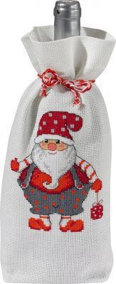 Santa Bottle Bag - Cross Stitch Kit