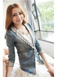 Top Quality Debonair Slim Lace Beadings Denim Blazers