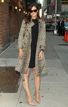 The Katie Holmes Look Book - Effortless little black dress, animal print trench coat, and nude pumps.