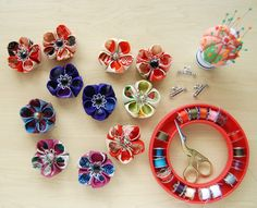 "How to make Japanese ""Kanzashi"" style fabric flowers."