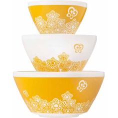 Vintage Charm Inspired by Pyrex 3-Piece Mixing Bowl Set, Yellow