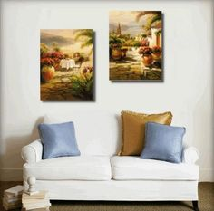 Italian Tuscany Garden Flower Modern Art 100% Hand Painted Oil Painting on Canvas Wall Art Deco Home Decoration (Unstretch No Frame) 2 Pics by galleryworldwide, http://www.amazon.com/dp/B0093JP9HI/ref=cm_sw_r_pi_dp_pqaUrb0KF51NX