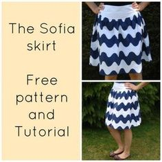 """FREE SEWING PATTERN: The Sofia skirt for women - Easy Materials: 2 yards cotton fabric 4"""" long zipper"""