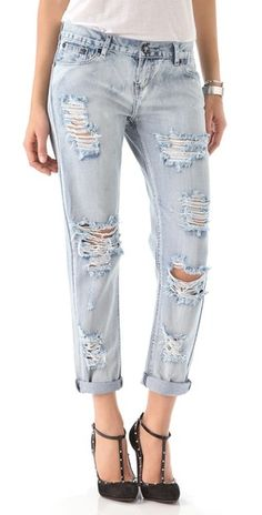 obsessed with these super distressed jeans