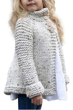 Toddler Baby Girls Autumn Winter Clothes Button Knitted Sweater Cardigan Cloak Warm Thick Coat Years beige *** You can find out more details at the link of the image. (This is an affiliate link) Knitting For Kids, Baby Knitting Patterns, Knitting Projects, Knitting Baby Girl, Free Knitting, Crochet Pattern, Baby Cardigan, Sweater Cardigan, Sleeveless Cardigan