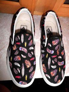 Vans Slip On Black Canvas Feather Motif Shoes Women 8 EUC! | eBay