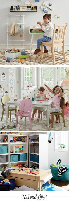 Kids love to play. That's why adding kids tables and chairs to the family room… Kids Table And Chairs, Kid Table, Kids Play Area, Kids Room, Kid Playroom, Playroom Ideas, Furniture Ads, Living Room Furniture, Furniture Design